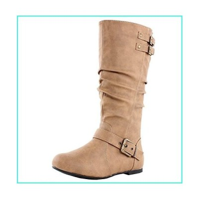 【新品】TOP Moda Night-76 Women's Slouched Under Knee High Flat Boots, Taupe 10(並行輸入品)