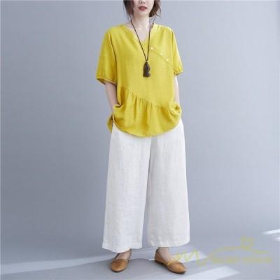 トップスブラウスゆるtシャツプルオーバーブラウス半袖レディースゆったりtシャツ麻風大きいサイズカジュアルおしゃれ40代