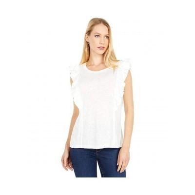 BCBGMAXAZRIA ビーシービージーマックスアズリア レディース 女性用 ファッション ブラウス Sleeveless Ruffle Knit Top - Optic White