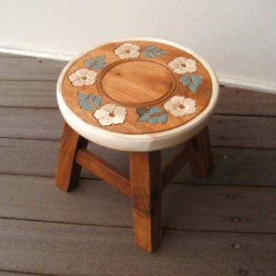 スツール キッズチェア アカシア お花 コロネット レトロ 木製 子供用椅子 かわいい プレゼント