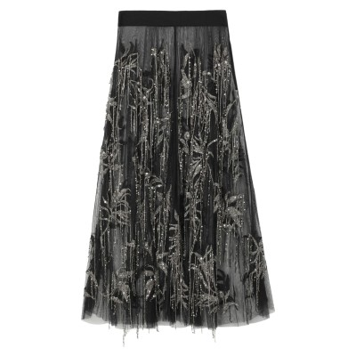 .AMEN. ロングスカート ブラック 40 ナイロン 100% / ガラス / ポリ塩化ビニル / レーヨン / コットン ロングスカート
