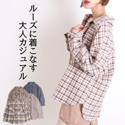 チェックシャツ レディース ビッグ ロング cpoシャツ 羽織り 長袖