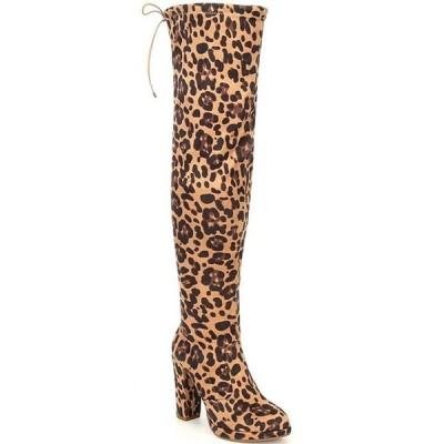 ジービー レディース ブーツ・レインブーツ シューズ Get-Real Leopard Stretch Microsuede Over-the-Knee Platform Block Heel Boots