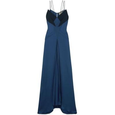 ローラン ムレ ROLAND MOURET レディース パーティードレス ワンピース・ドレス revere crepe-trimmed hammered stretch-silk satin gown Indigo