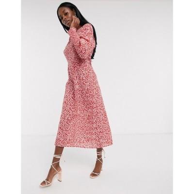 ネバーフリードレスド レディース ワンピース トップス Never Fully Dressed long sleeve midaxi dress in red floral print