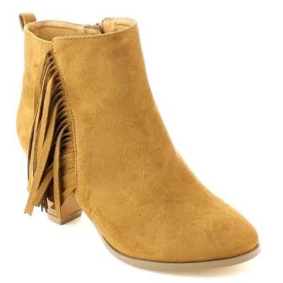 ブーツ シューズ 靴 海外厳選ブランド New レディース Stacked ヒール Side ジッパー Fリングe アンクルブーティーs DEAN-3 TAN