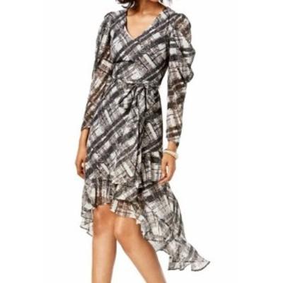 taylor テイラー ファッション ドレス Taylor Womens Dress Black Size 12 Shift Puff Sleeve V-Neck Printed