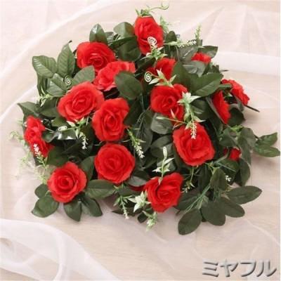 造花 インテリア アレンジ バラ 葉 ローズ 植物 装飾  2個セット