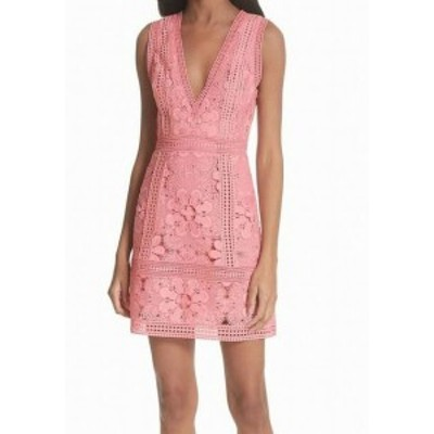 Alice + Olivia アリス+オリビア ファッション ドレス Alice + Olivia NEW Pink Womens Size 12 Floral Lace V-Neck Sheath Dress
