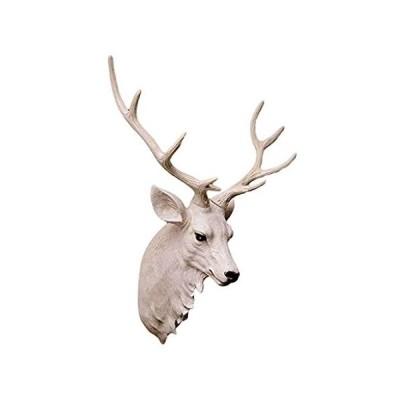 鹿の頭 壁掛け アニマル リビングルーム ステレオ ホワイト 彫刻 樹脂 Lサイズ 5843cm アニマルヘッド 並行輸入品