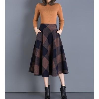 スカート 冬 skirt フレアスカート ミモレ丈 ロング チェック