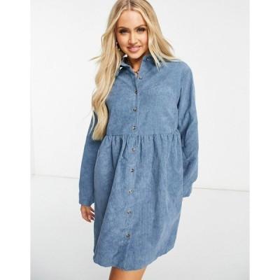 ミスガイデッド レディース ワンピース トップス Missguided cord long sleeve shirt smock dress in slate blue Slate blue