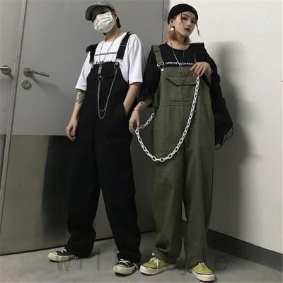 オーバーオールつなぎサロペット韓国オルチャンストリートダンス衣装ワークポケット原宿系HIPHOPアメカジボトムス