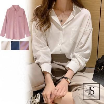 シャツトップス 全3色 無地 ゆったりめ オーバーサイズシャツ レディース ピンク ホワイト ネイビー 長袖 シンプル 大人カジュアル デイリー JSファッション