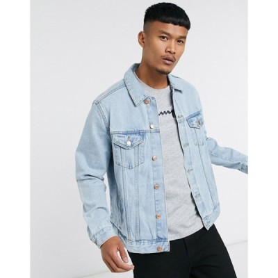 ベルシュカ メンズ ジャケット・ブルゾン アウター Bershka denim jacket in light blue