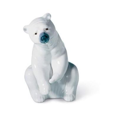 LLADR〓 Resting Polar Bear Figurine. Porcelain Polar Bear Figure.