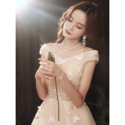 パーティードレス ワンピース ウェディングドレス 結婚式 成人式 パーティー 花嫁ロングドレスお呼ばれ 演奏会 可愛い蝶々 挙式 オフショルダー