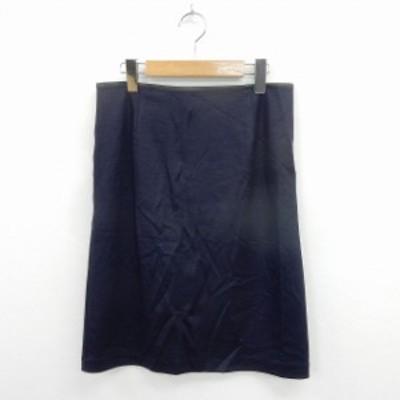 【中古】ジェイプレス J.PRESS スカート タイト 膝丈 バックジップ シンプル 11 ネイビー /ST13 レディース