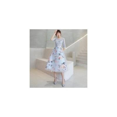 パーティードレス ミモレ丈 結婚式 お呼ばれドレス ワンピース 二次会ドレス ゲストドレス 袖あり 透け感レース 発表会 ウェディングドレス 大きいサイズも対応