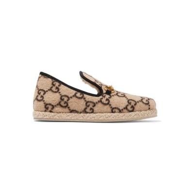 グッチ Gucci レディース ローファー・オックスフォード シューズ・靴 Fria horsebit-detailed logo-print wool loafers