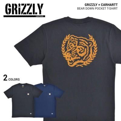 GRIZZLY × Carhartt グリズリー × カーハート Tシャツ BEAR DOWN POCKET T-SHIRT 半袖 カットソー トップス 単品購入の場合はネコポス便発送