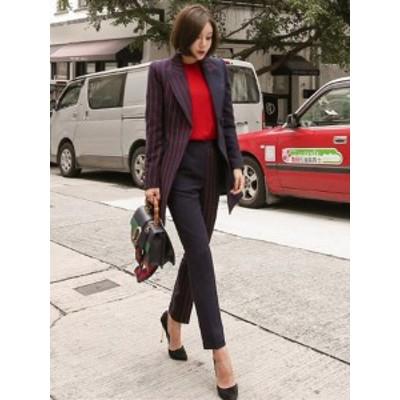 パンツ スーツ セットアップ アンバランス ストライプ*韓国新作*送料込
