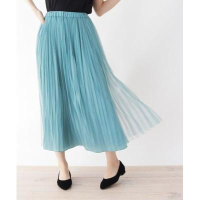 SHOO・LA・RUE/シューラルー 【M-L】リバーチュール×プリーツ2WAYスカート ライトグリーン(021) 03(L)