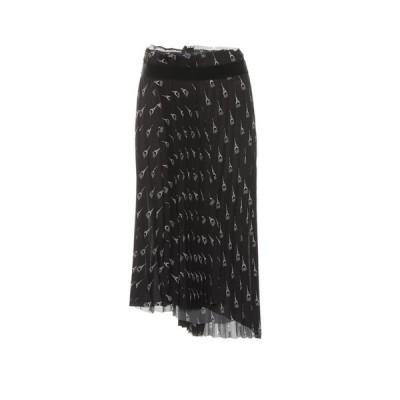 バレンシアガ Balenciaga レディース ひざ丈スカート スカート Pleated printed midi skirt Black