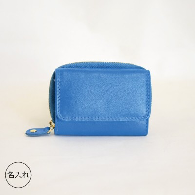 tiny ミニ財布 Blue 本革 三つ折りコンパクト【名入れ可】(希望しない)