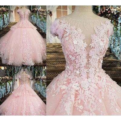 サイズオーダー品 新作綺麗 ウェディングドレス レース シンプル 花嫁 結婚式ブライダル 披露宴 二次会 エンパイア プリンセスライン ドレス