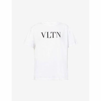 ヴァレンティノ VALENTINO レディース Tシャツ トップス Logo-print bead-embellished cotton-jersey T-shirt WHITE