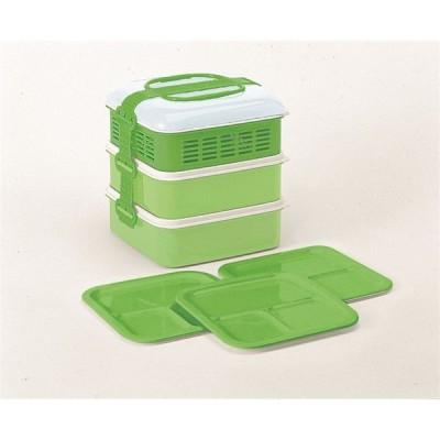 サンコープラスチック リオパック 3段 取り皿3枚付き グリーン(KG) KG