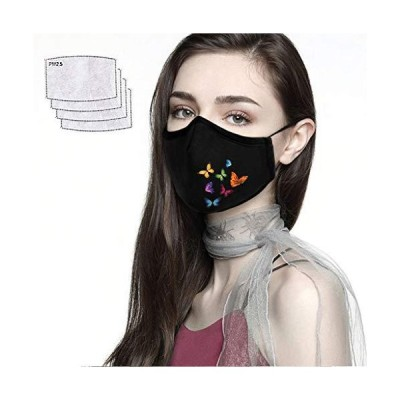 Womens Outdoor Face Covering Butterfly Print Cotton Washable Reusable Breathable Face Bandanas with Activated Carbon Filters