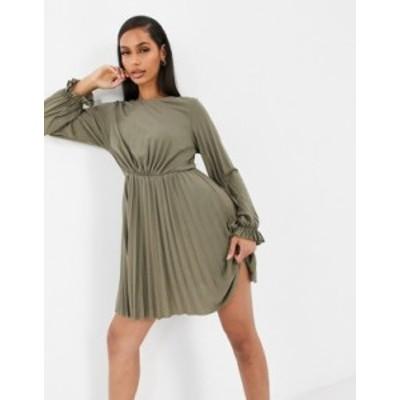 エイソス レディース ワンピース トップス ASOS DESIGN long sleeve pleated mini dress with ruffle cuff in khaki Khaki