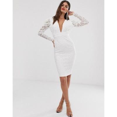 ベスパー ミディドレス レディース Vesper midi stretch lace pencil dress with ruched sleeve in cream エイソス ASOS