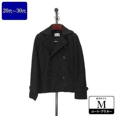 UPSTART Pコート メンズ Mサイズ 黒/ブラック ピーコート 男性用 中古 ZQDB01