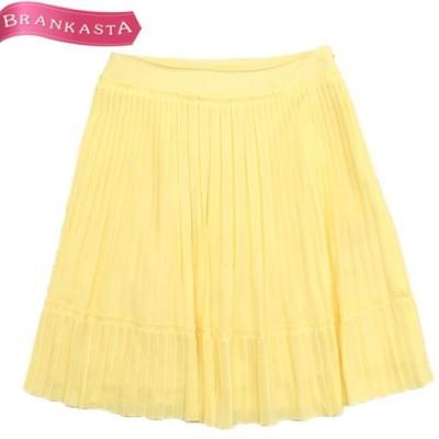 ANAYI アナイ 美シルエット 裾切り替えデザイン ひざ丈 プリーツスカート 38 レモンイエロー  22ln12