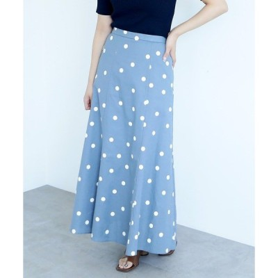 スカート ◆麻ドットフレアマキシスカート