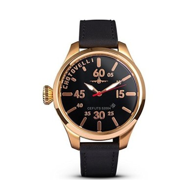 Chotovelli Luxury Pilot's Watch with Sapphire Crystal Italian Leather Strap (5400.4)