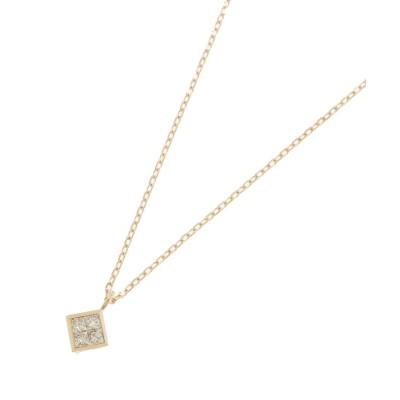 COCOSHNIK(ココシュニック) ダイヤモンド プリンセスカット ひし形ネックレス