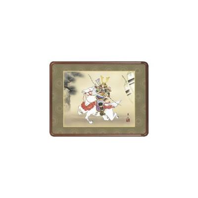 隅丸和額-若武者/榎本東山 送料無料和額(欄間やなげしに端午の節句画隅丸和額をどうぞ)
