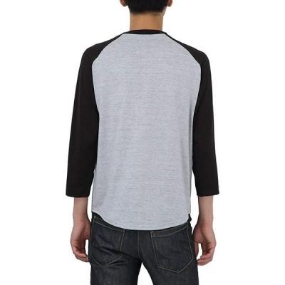プリントスター カットソー メンズ 5.6オンス へヴィー ウェイト ラグラン ベースボール Tシャツ(七分袖) 00138-RBB 杢グレ