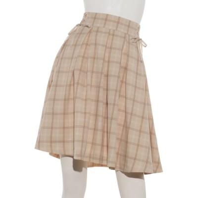 MAJESTIC LEGON (マジェスティックレゴン) レディース Wレースアップ裾シフォンフレアースカート 柄ベージュ M