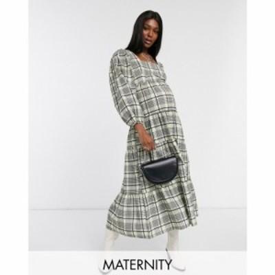 トップショップ マタニティー Topshop Maternity レディース ワンピース ティアードドレス ワンピース・ドレス check tiered smock dress