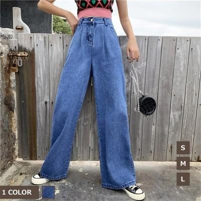 ロングパンツデニム50代パンツレディース KL ワイドパンツ ガウチョパンツ体型カバーストレートジーンズ着痩せ¥/大きいサイズ スカー