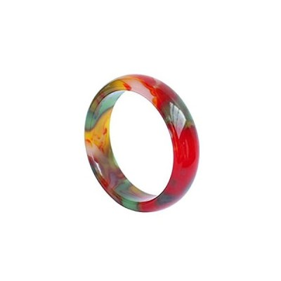 HSUMING Jade Bangle Bracelet for Women, Charm Chinese Style Colorful Agate  好評販売中