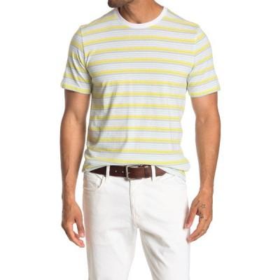 アボンド メンズ Tシャツ トップス Striped Crew Neck T-Shirt YELLOW VIBRANT NEON STRIPE