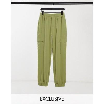 コリュージョン レディース カジュアルパンツ ボトムス COLLUSION Unisex utility pants in micro check Green check