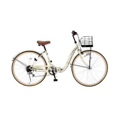 マイパラス M-509-IV アイボリー PRINTEMPS [折り畳みシティサイクル(26インチ・6段変速)] 折りたたみ自転車・ミニベロ