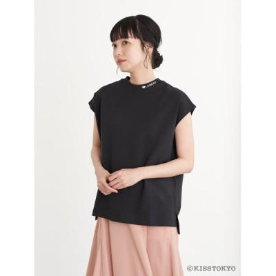 (earth music&ecology/アースミュージックアンドエコロジー)KISS TOKYO フレンチスリーブTシャツ/レディース ブラック